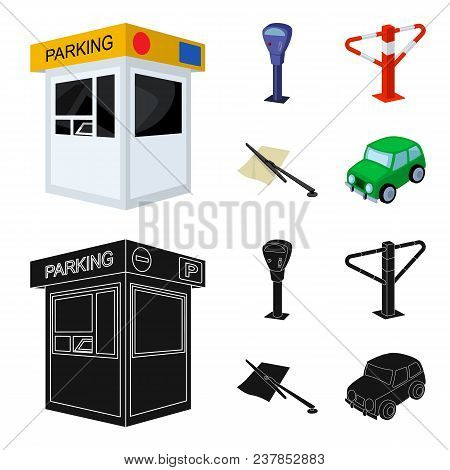 A Parking Lot, A Parking Meter, A Check For Services, A Barrier. Parking Zone Set Collection Icons I