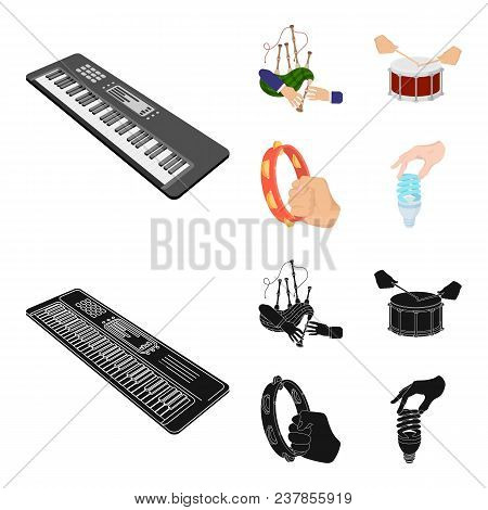 Synthesizer Melodies, Bagpipes Scotch And Other  Icon In Cartoon, Black Style. Drum, Drum Roll, Tamb