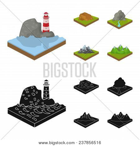 Mountains, Rocks And Landscape. Relief And Mountains Set Collection Icons In Cartoon, Black Style Is