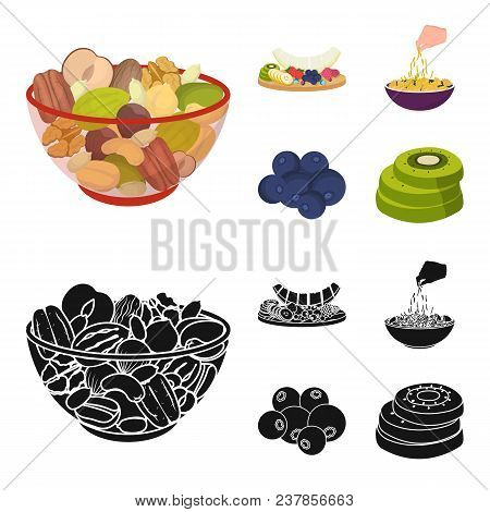 Assorted Nuts, Fruits And Other Food. Food Set Collection Icons In Cartoon, Black Style Vector Symbo