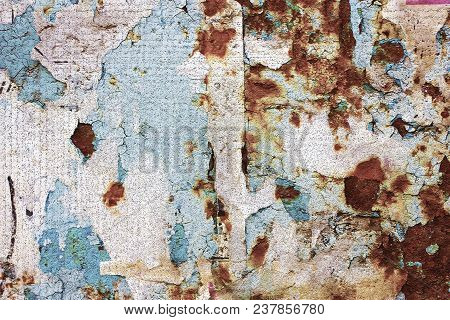 Illustration Of Old, Torn Bulletin Board. Computer 3d Texture Of Craquelure On Message Board. Street