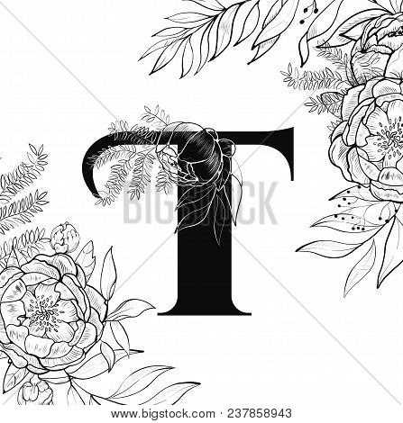 laser cut template initial monogram letters filigree cutout pattern vector illustration fancy floral alphabet letter may be used for paper cutting