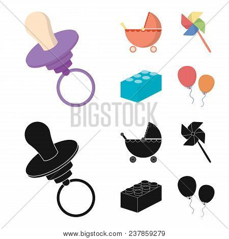 Stroller, Windmill, Lego, Balloons.toys Set Collection Icons In Cartoon, Black Style Vector Symbol S
