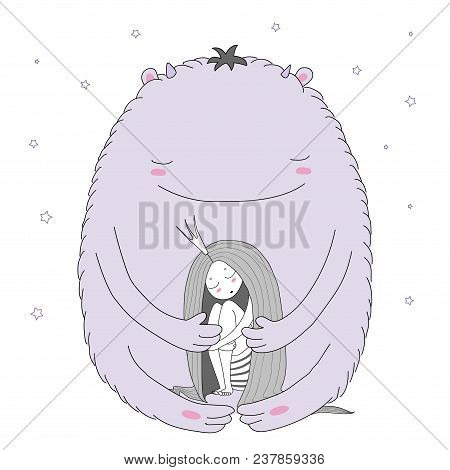 Hand Drawn Vector Illustration Of Sleeping Princess With Long Hair And Cute Moster Among The Stars.
