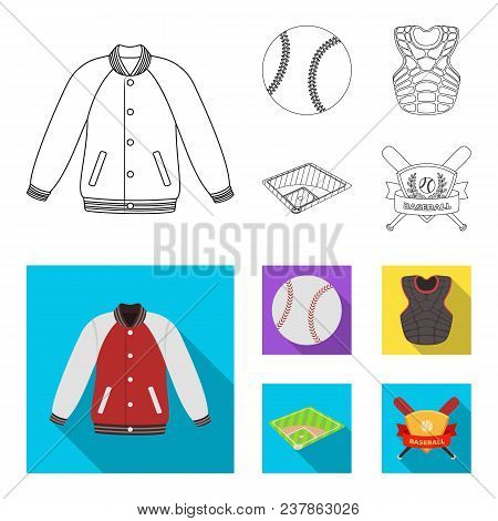 Playground, Jacket, Ball, Protective Vest. Baseball Set Collection Icons In Outline, Flat Style Vect