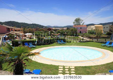 Corfu, Greece - May 31, 2016: Generic Vacation Resort Swimming Pool In Sidari, Corfu Island, Greece.