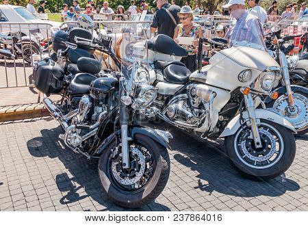 Karmiel, Israel - May 31, 2017 : Several Old Motorcycles Kawasaki At An Exhibition Of Old Cars In Th