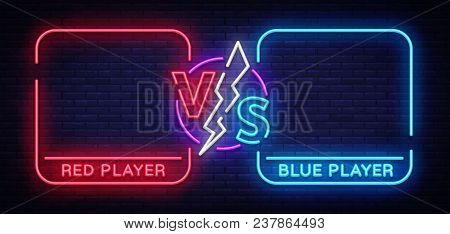 Versus Screen Design In Neon Style. Neon Banner Announcement Of Two Fighters. Blue Futuristic Neon V