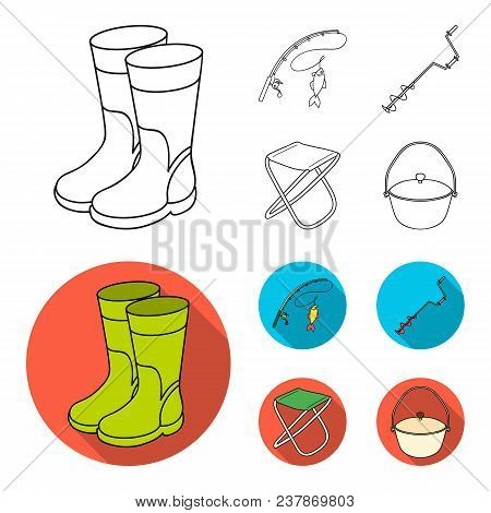 Fishing, Fish, Catch, Fishing Rod .fishing Set Collection Icons In Outline, Flat Style Vector Symbol