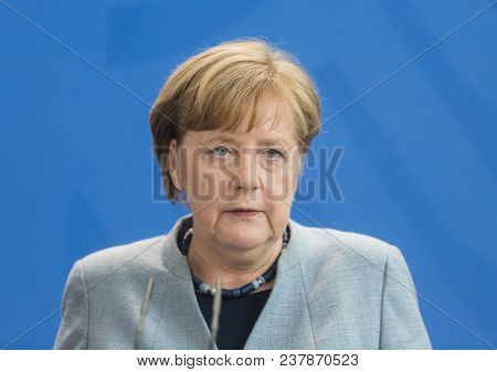 Berlin, Germany - Apr. 10, 2018: Chancellor Of The Federal Republic Of Germany Angela Merkel During