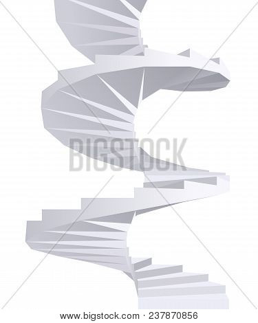 3d Abstract White Spiral Staircase. Vector Illustration.