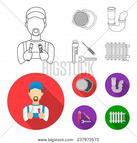 Sewage Hatch, Tool, Radiator.plumbing Set Collection Icons In Outline, Flat Style Vector Symbol Stoc