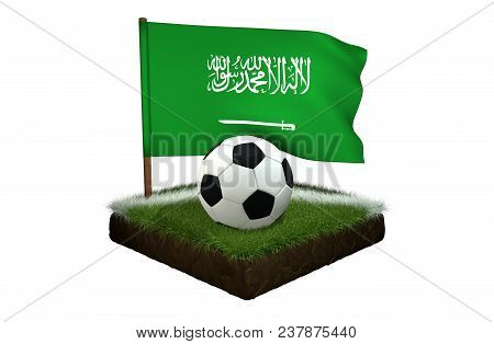 A Black And White Round Ball For Playing Football And The National Flag Of Saudi Arabia Are Located