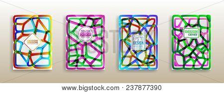 Colorful Mosaic Covers Design. Geometric Shapes Brochure Template Layout. Surface Geometric Gradient