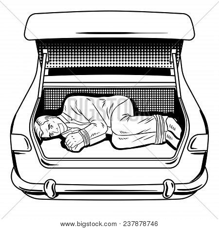 Kidnapped Man In The Car Trunk Coloring Retro Vector Illustration. Isolated Image On White Backgroun