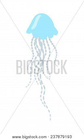 Blue Jellyfish Cartoon Character. Jellyfish Flat Vector Isolated On White Background. Aquatic Fauna.