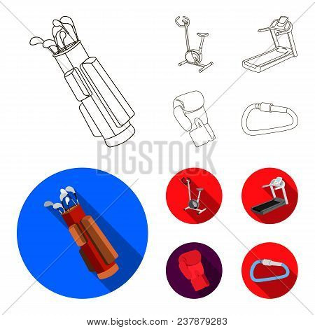 Exercise Bike, Treadmill, Glove Boxer, Lock. Sport Set Collection Icons In Outline, Flat , Flat Styl