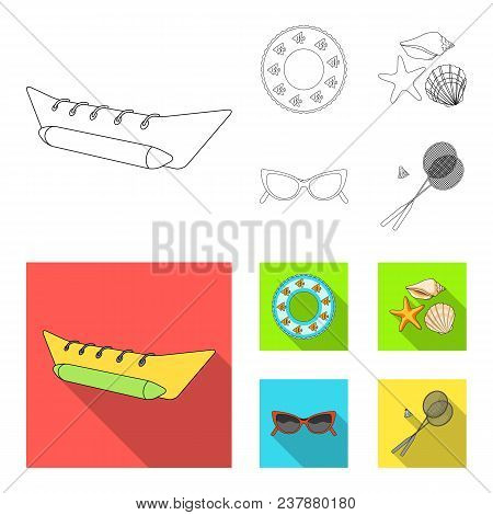 Water Attraction, Seashells, Goggles.summer Vacation Set Collection Icons In Outline, Flat Style Vec