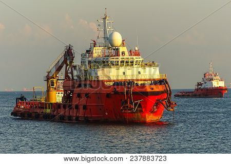 View Of Supply Vessel Offshore Support Vessel,ready To The Offshore Oil Production Fields.
