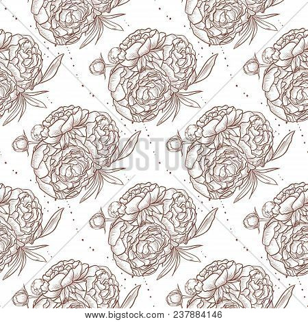 Vector Seamless Pattern Of Peony Bouquet, Hand Drawn Sketch, Isolated On White Background