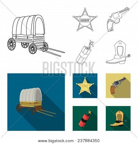 Star Sheriff, Colt, Dynamite, Cowboy Boot. Wild West Set Collection Icons In Outline, Flat Style Vec