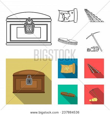 Treasure Map, Chest, Rails, Patrol.wild West Set Collection Icons In Outline, Flat Style Vector Symb