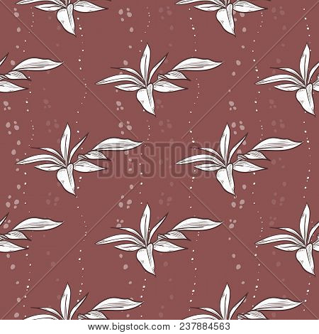 Vector Seamless Pattern Of Peony Leaves, Hand Drawn Sketch, Isolated