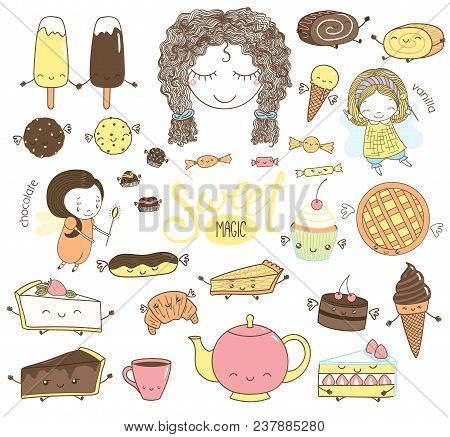 Set Of Different Hand Drawn Sweet Food Doodles, With Kawaii Cartoon Faces, Girl Head, Cute Fairy Gir