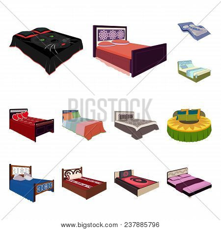 Different Beds Cartoon Icons In Set Collection For Design. Furniture For Sleeping Vector Isometric S