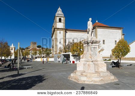 Castelo De Vide, Portugal - November 12, 2017: View Of The D. Pedro V Square In The Village Of Caste