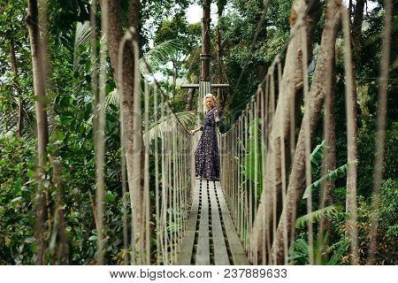 Serious Attractive Woman Standing On Footbridge In Jungle