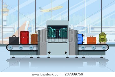 Airport Conveyor Belt With Passenger Luggage And Police Scanner. Terminal Checkpoint Vector Concept.