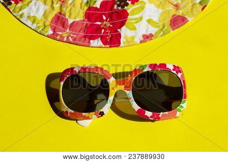 Studio Shot Of Colorful Sunglasses. Summer Is Coming Soon. Travel, Vacation, Summer Concept. Sunglas