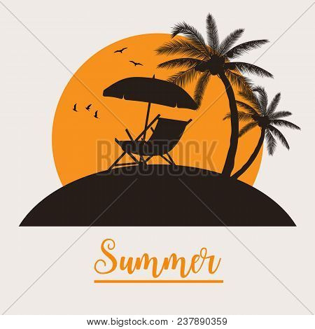 Silhouette Of Wooden Chaise Lounge, Palm Tree On Beach. Vector Illustration In Flat Design