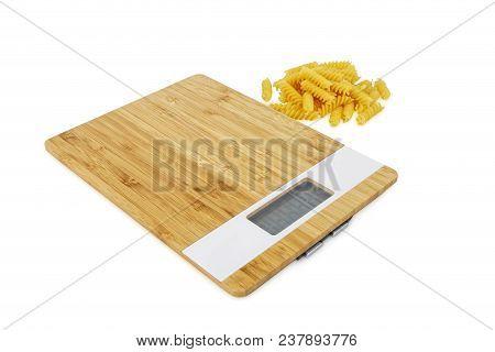 Digital Kitchen Scale Iand Pasta Solated On White Background