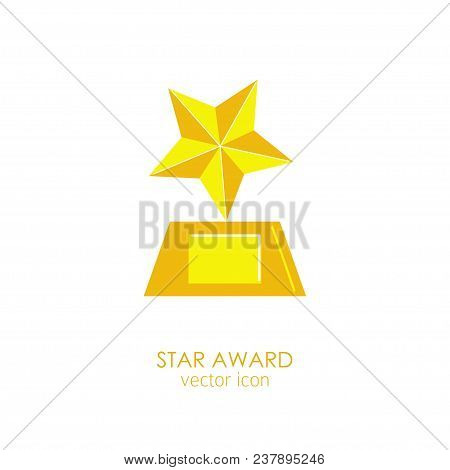 Prize And Award Star Icon. Stock Vector Illustration Of A Star-shaped Golden Trophy, Cup For Winning
