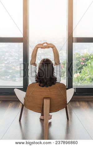 Living Lifestyle, Luxury Simplicity Home Relaxation Life Style Of Happy Working Woman Take It Easy S