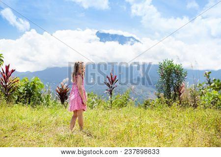 Child Hiking In Mountains. Kids Jungle Trekking.