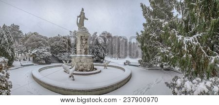 Sochi, Russia - January 29, 2017: Fountain Of Tale During A Snowfall.