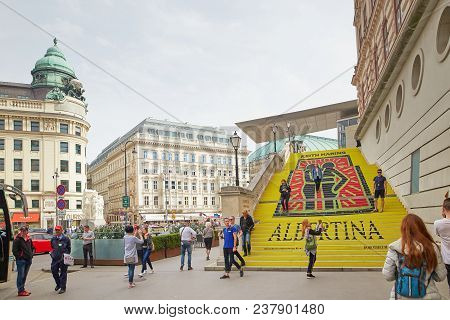 Vienna, Austria - 15 April 2018: Staircase With Advertising The Albertina Museum.