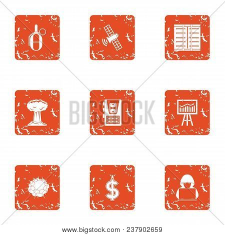 Cyber Diversion Icons Set. Grunge Set Of 9 Cyber Diversion Vector Icons For Web Isolated On White Ba