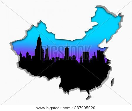 China Skyline City Metropolitan Area Nightlife 3d Illustration