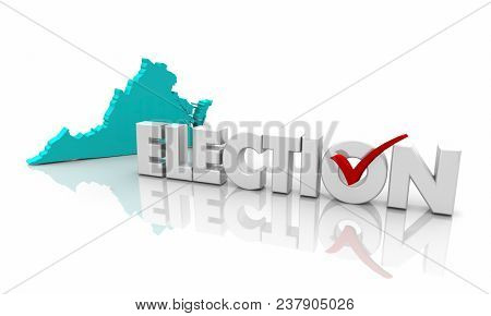 Virginia VA Election Voting State Map Word 3d Illustration