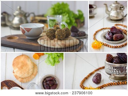 Ramadan And Iftar Food Collage - Falafel, Dates Fruits, Bread And Islamic Rosary