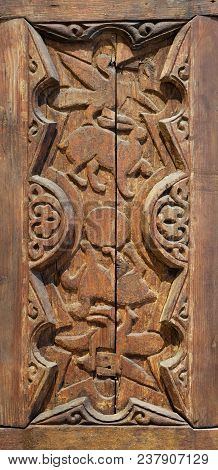 Fatimid era style engraved wooden panel decorated with animal based decorations inside geometric and floral patterns, Cairo, Egypt poster
