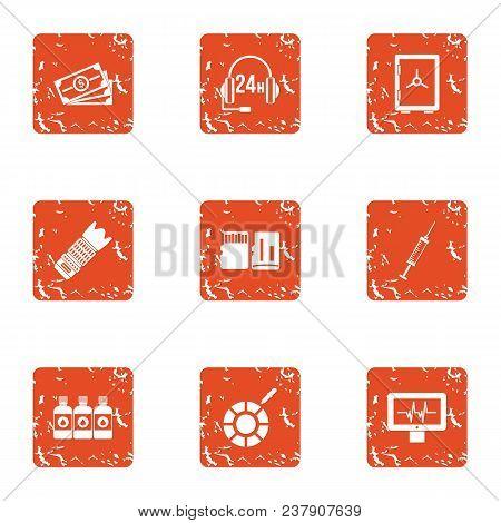 Business Telephony Icons Set. Grunge Set Of 9 Business Telephony Vector Icons For Web Isolated On Wh