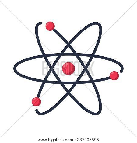 Atom Icon Vector Symbol. Chemistry And Science Research. Structure Of The Nucleus Of The Atom. Aroun