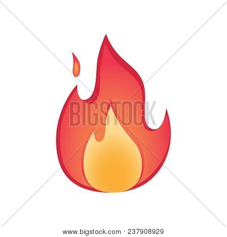 Vector Fire Flames Sign Illustration. Warm And Cozy Concept With Firepalce Isolated Fire Icon. Bonfi