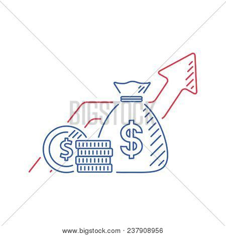 Financial Growth, Investment Strategy Plan, Fund Rising Campaign, Arrows And Coin, Vector Mono Line