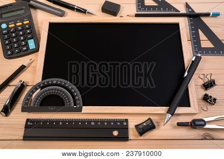 Stationery Of Education For Mathematics Class In School. Mathematics Equipment Tools For Basic Math